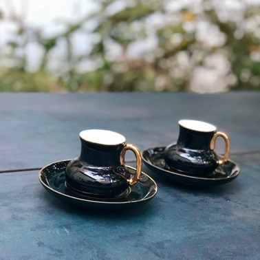 Acar Porselen 2'li Siyah Kahve Fincan Takımı Siyah